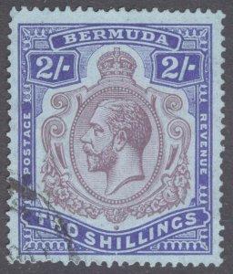 Bermuda 1924 2s Purple & Blue on blue Wmk Script SG 88 Scott 94 VFU Cat £75($97)