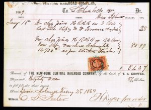 US STAMP #R15 2c 1862 Revenue Stamp ON NY CENTRAL RAIL ROAD CO. PAPER