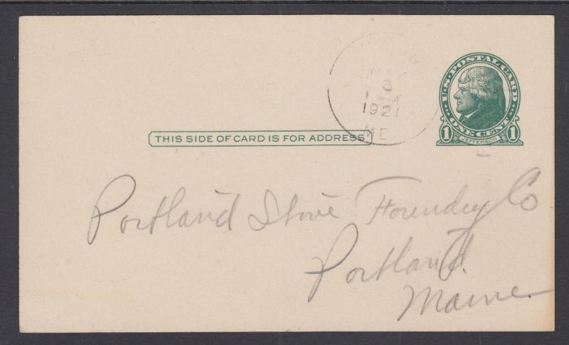 US Sc UX27C used 1916 1c Jefferson Postal Card, VF & Very Scarce
