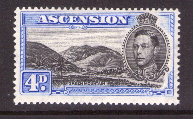 ASCENSION George VI SG42c 4d Blk/ultramarine ,single, multi-colour L/hinged