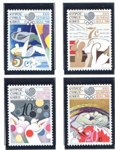 Cyprus Sc 705-8 1988 Olympics stamp set mint NH