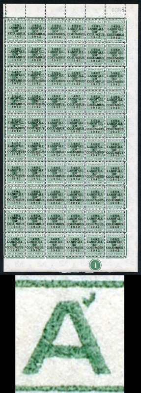 Bahamas KGVI SG162c 1/2d Columbus Variety Accent Flaw (R1/5 1938 printing only)f
