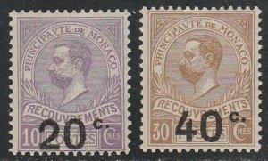 Monaco #J19-J20 Mint Hinge Remnant Set of 2 cv $8.50
