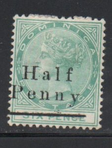 Dominica Sc 13 1886 1/2d ovpt on 6d Victoria stamp mint