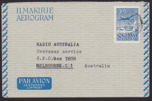 FINLAND 1954 25mk aerogramme commercially used to Australia.................5858