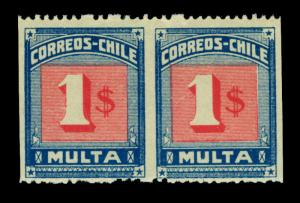 CHILE 1924 Postage Dues - MESIAS  $1 PAIR - IMPERFORATE between  MLH