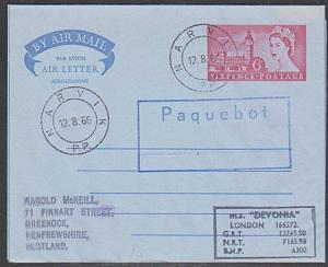 GB NORWAY 1966 MS DEVONIA  ship cover, GB airletter NARVIK PAQUEBOT.........1062