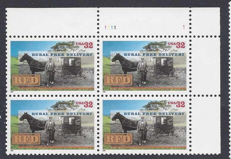 Catalog # 3090 RFD Rural Free Delivery Horse etc Plate Block of 4 32