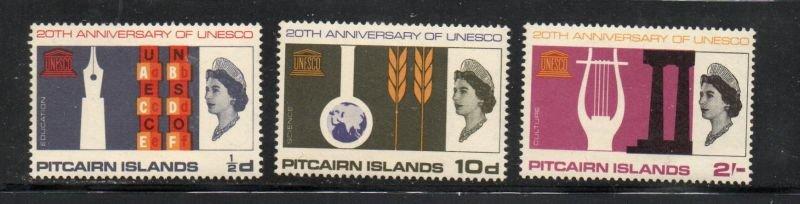 Pitcairn Islands Sc 64-66 1966 UNESCO stamp set mint