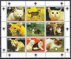 No. Ossetia, 2000 Russian Local. Cats of the World sheet of 9. Scout Logo.