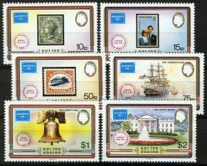 Belize 1986, Ameripex 86, Stamps on stamps set VF MNH, Mi 892-897 cat 9€