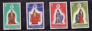Bahrain-Sc#214-17- id7-unused NH set-Women's Silk Gown-Costumes-1974-