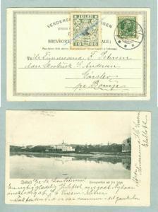 Denmark. Postcard 1906. With Seal,Blue Pencil Cancel. Ebeltoft Railway Station.