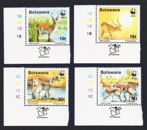 Botswana WWF Red Lechwe 4v Bottom Left Corners SG#648-651 MI#431-434 SC#432-435