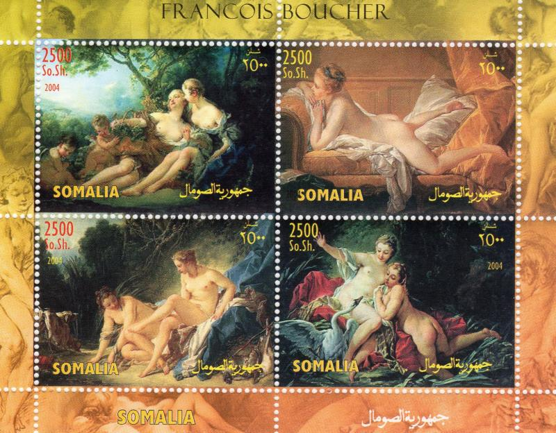 Somalia 2004 Francois Boucher Nudes Paintings Sheetlet (4) Perforated MNH