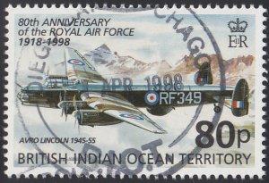 BIOT 1998 used Sc #201 80p Avro Lincoln RAF 80th ann