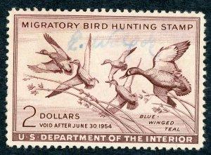 #RW20 – 1953 $2.00 Blue-Winged Teal. Used.