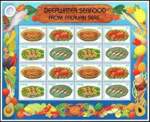 Palau. 1993. Small sheet 610-13. Gastronomy Palau, shrimp, fish, crabs. MNH.