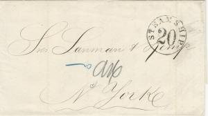 Cuba, 1866 Stampless Cover, sent from Havana to New York City, Steamship 20 mark