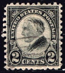 US STAMP #612 – 1923 2c Harding, black, perf 10  used stamp