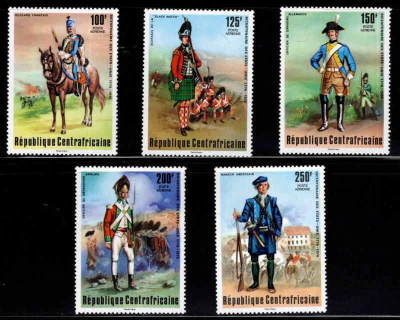 Central African Republic Scott C139-C143 MNH** 1976 Military Uniform set