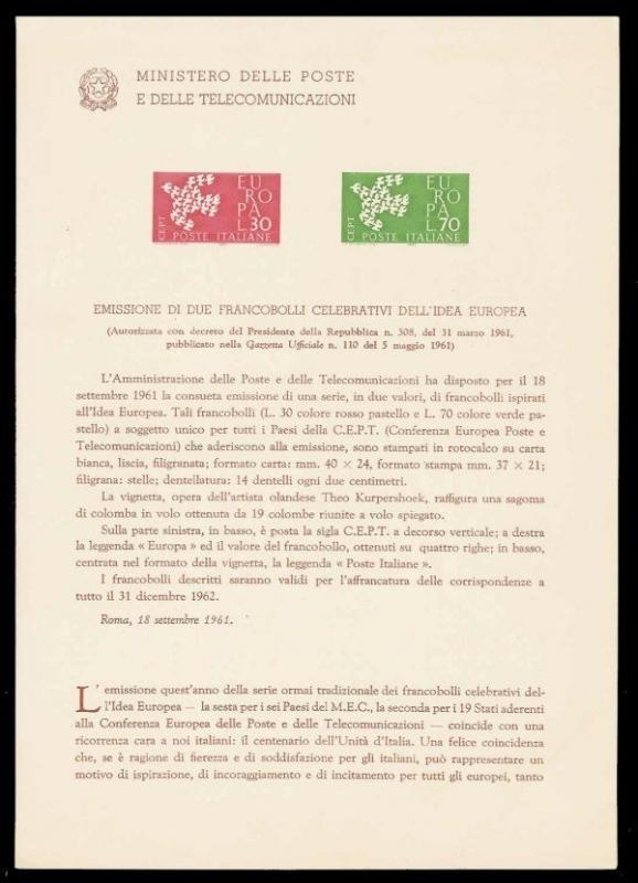 Italy 1961 Europa Issue Ministry of Posts Bulletin