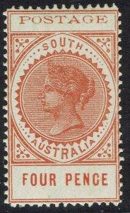 SOUTH AUSTRALIA 1902 QV THIN POSTAGE 4D MNH **