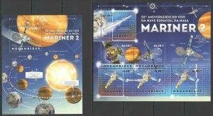 BC1177 2012 MOZAMBIQUE SPACE 50TH ANNIVERSARY NASA SPACESHIP MARINER 2 KB+BL MNH
