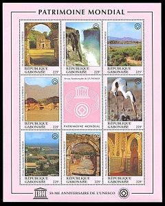 Gabon 853, MNH, 50th Anniversary of UNESCO miniature sheet, Heritage Sites