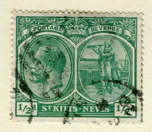 ST.KITTS; 1920s early GV issue fine used Columbus issue 1/2d. value