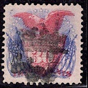 US Stamp #121 USED SCV $375. Great Margins, Impression.