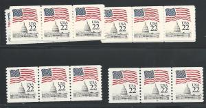 Scott 2115 Pl#'s 1,5,7,8,10,12,16 Strips of 3, Never Hing...