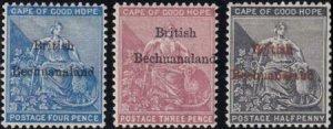 Bechuanaland 1885-1887 SC 1,3-4 MLH Set