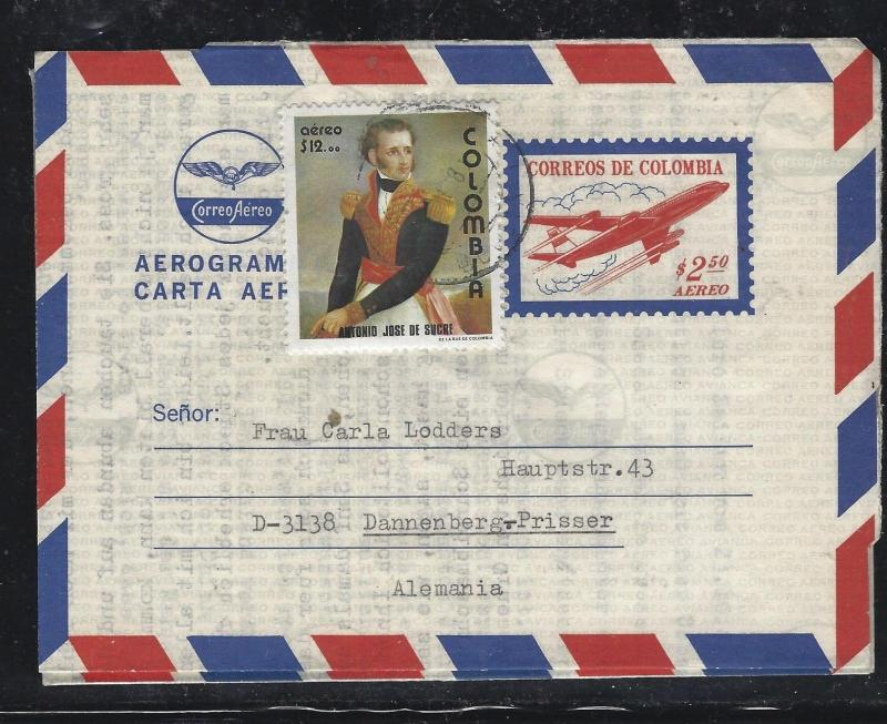 COLOMBIA  (PP0308B) 2.50 AIRPLANE AEROGRAMME URATED  12.00 DE SUCRE TO GERMANY