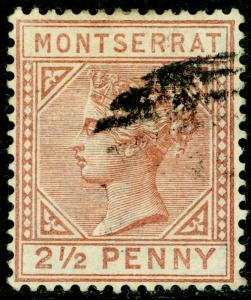 MONTSERRAT SG9, 2½d red-brown, FINE USED. Cat £65.