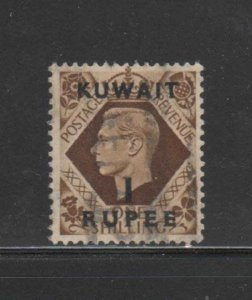 KUWAIT #79  1948  1r on 1sh   KING GEORGE VI SURCHARGED   F-VF  USED  g