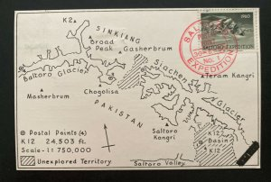 1960 Pakistan Mt Everest Saltoro K12 Expedition Postcard Cover To Rawalpindi