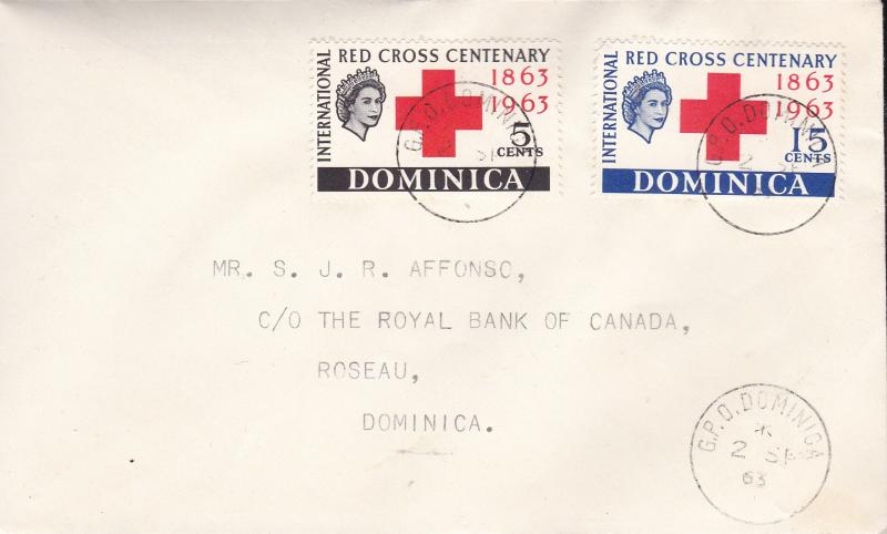 Dominica 1963 Red Cross Centenary First Day Cover Typed Address  VF