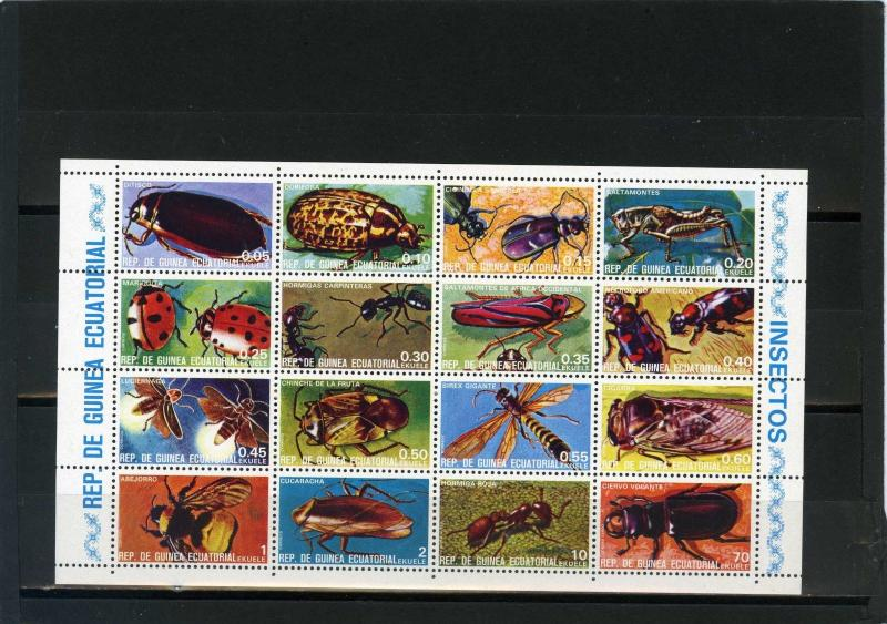 EQUATORIAL GUINEA INSECTS SHEET OF 16 STAMPS MNH