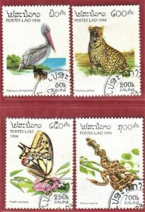 LAOS STAMPS SC# 1261-64  *CTO* 1996  60+200+250+700k  WILDLIFE  SEE SCAN