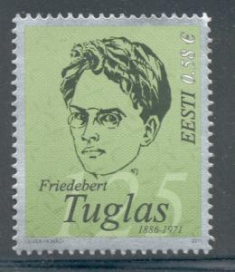Estonia Sc 664 2011 Tuglas stamp mint NH