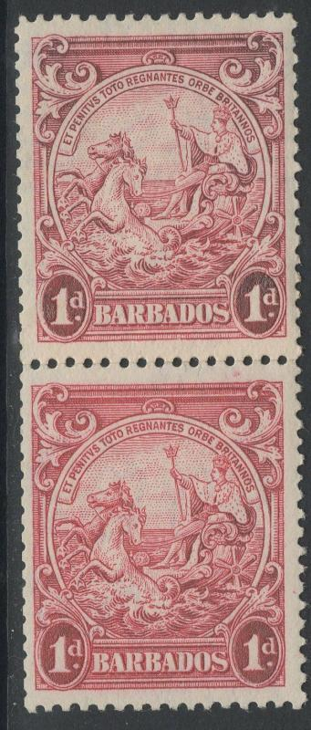 BARBADOS SG249 1939 1d CARMINE p13½x13 MTD MINT WITH COIL JOIN