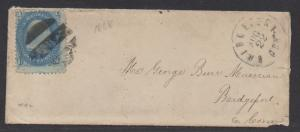 **US 19th Century Ladies Cover, SC# 92 Tied by Black FC, 8/22/1868, CV $550.00