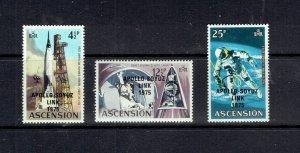 ASCENSION ISLAND - 1975 APOLLO SOYUZ LINK - SCOTT 189 TO 191 - MLH