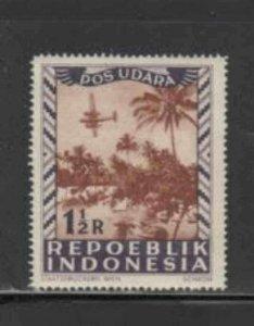INDONESIA #C8 1948 1 1/2r AIRCRAFT MINT VF LH O.G