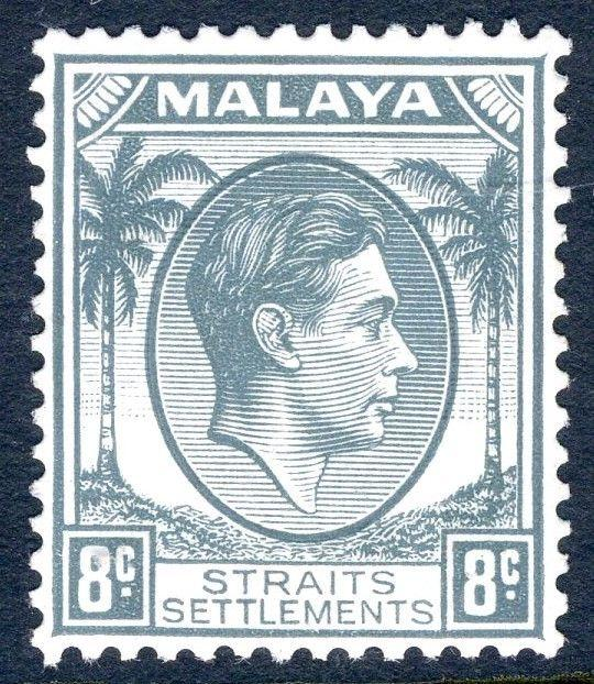 STRAITS SETTLEMENTS-1938 8c Grey Sg 283 UNMOUNTED MINT V18755