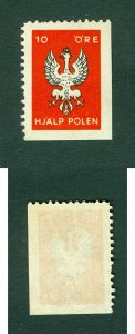 Sweden. Poland. Poster Stamp MNH 1939. WWII.Help/Support Poland. 10 Ore. Eagle