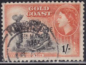 Ghana 10 USED 1957 Breaking Cocoa Pods 1sh