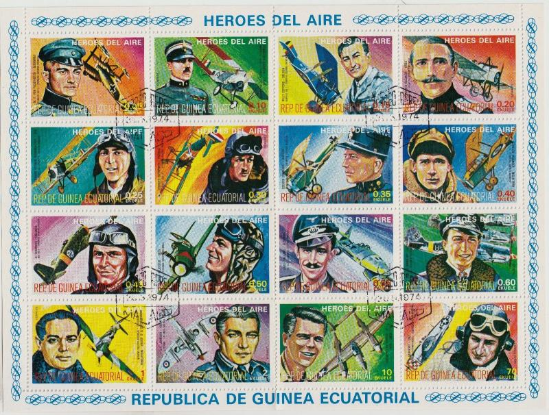 EQUATORIAL GUINEA CTO Scott # Planes & Aviators Folded Sheet of 16 (1 Sheet) (4)