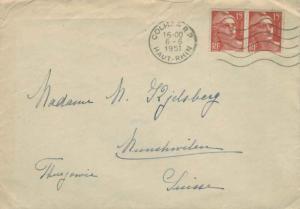 France 15F Marianne Gandon (2) 1951 Colmar R.P, Haut-Rhin to Munchwilen, Swit...